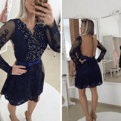 Charming Short Prom/Homecoming Dress - Dark Navy Lace with Long Sleeves