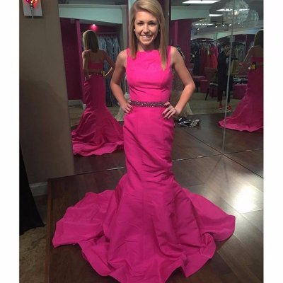 Modern Scoop Fuchsia Long Mermaid Prom Dress Evening Gown With Beading Belt