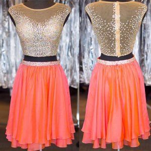 Hot Sale Two Piece Cap Sleeves Short Homecoming Dresses with Beaded Illusion Back