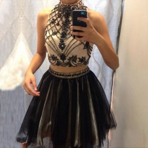 Sexy Two Piece High Neck Short Black Homecoming Dress with Beading Rhinestones