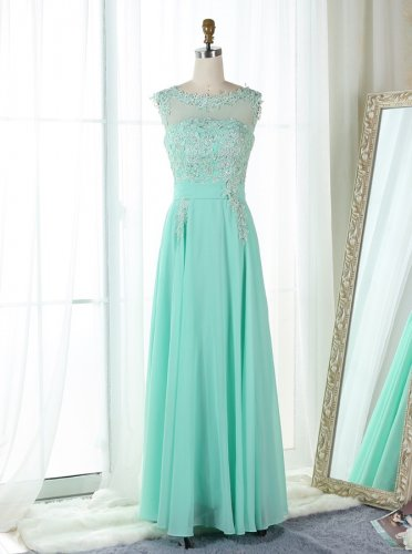 A-Line Bateau Mint Green Chiffon Appliques Prom Bridesmaid Dress