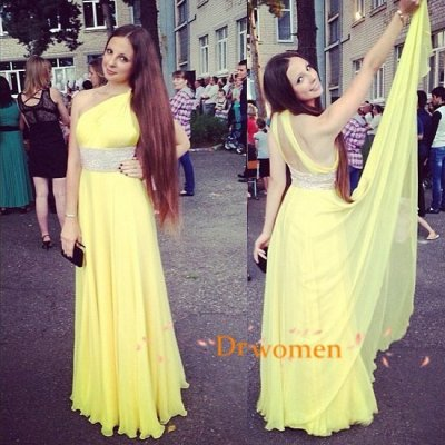 A-Line One Shoulder Floor-Length Yellow Chiffon Prom Dress with Beading
