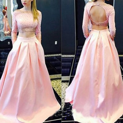 Luxurious A-Line Jewel 3/4 Sleeves Long Backless Satin Pink Prom Dress With Sequins