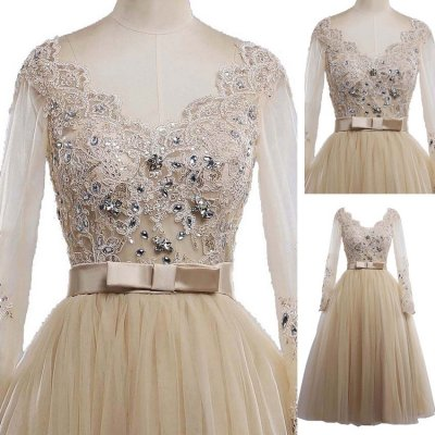 Tea-Length Bowknot Tulle Prom Dress - Champagne V-Neck with Appliques