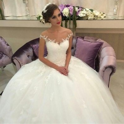 Delicte Off-the-Shoulder Ball Gown Wedding Dress with Appliques