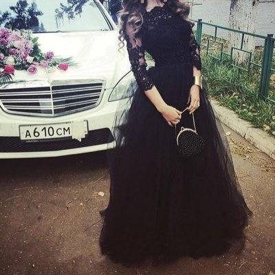 Fashion Black Prom Dress - Floor-Length 3/4 Sleeves Lace Top with Beading