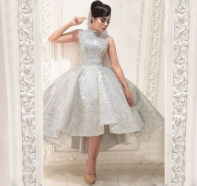 Ball Gown High Low High Low Silver Sequined Prom Dress with Pleats