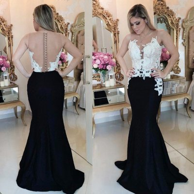 Mermaid Style Illusion Jewel Sweep Train Black Satin Prom Dress with Appliques
