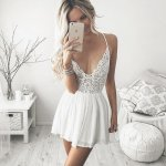 A-Line Spaghetti Straps Short White Chiffon Homecoming Dress with Lace
