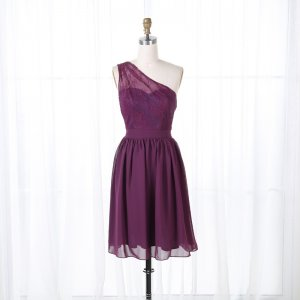 A-Line One Shoulder Short Grape Chiffon Homecoming Dress with Lace