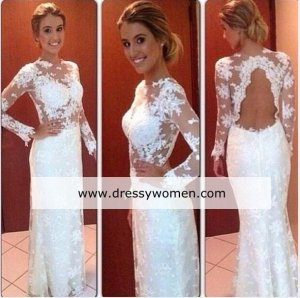 New Arrival Custom Made Elegant Lace Evening dress with Long Sleeves DS-A1