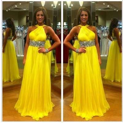 A-Line Halter Floor Length Chiffon Backless Yellow Prom Dress With Beading