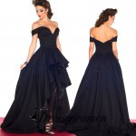 Sexy Hi Low Prom Dress - Dark Navy Off-the-Shoulder with Circle Skirt