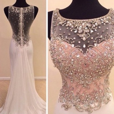 Elegant Long Prom Dress - Pear Pink A-Line Scoop with Rhinestone