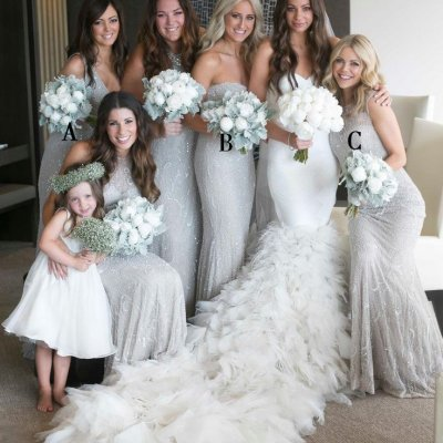 Elegant Strapless Long Sliver Grey Mermaid Bridesmaid Dress With Sequins