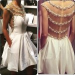 Timeless Jewel Cap Sleeves Short White Homecoming Dresses with Pearls