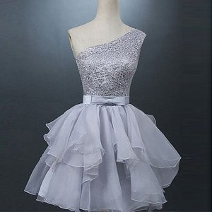 Stylish One Shoulder Short Grey Organza Homecoming Dress with Beading Bowknot Open Back