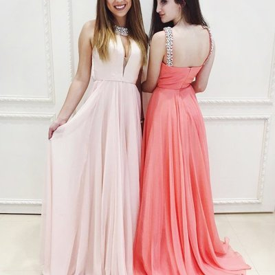 A-line High Neck Keyhole Pearl Pink / Coral Prom Dress with Beading