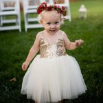 Ball Gown Straps Mid-Calf White Tulle Flower Girl Dress with Sequins Appliques