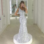 Mermaid One Shoulder Floor-Length Silver Sequined Prom Dress