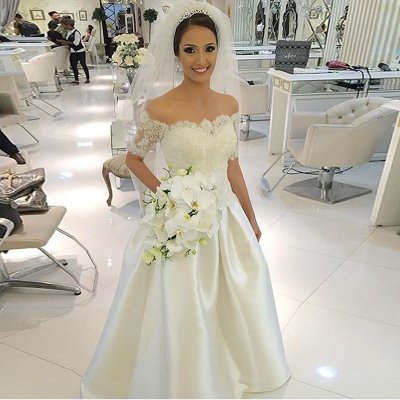 A-Line Off-the-Shoulder Ivory Satin Wedding Dress with Lace Beading
