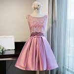 A-Line Bateau Open Back Pink Satin Homecoming Dress with Lace