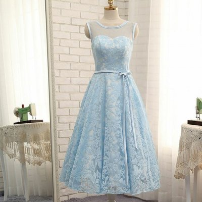 A-Line Bateau Lace-up Blue Lace Homecoming Dress with Sash