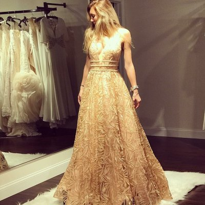 A-Line Deep V-Neck Floor-Length Champagne Lace Prom Dress with Beading