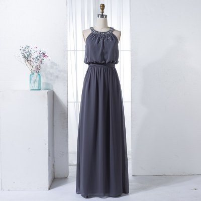 A-Line Round Neck Dark Grey Chiffon Bridesmaid Dress with Beading