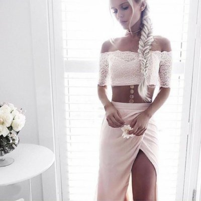 Two Piece Off-the-Shoulder Short Sleeves Pearl Pink Prom Dress with Lace