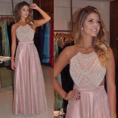 Awesome Floor Length Prom/Evening Dress - Sheer Back Top with Pearls