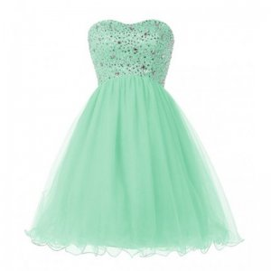 Gorgeous Sweetheart Short Mint Green Dress for Homecoming with Beading