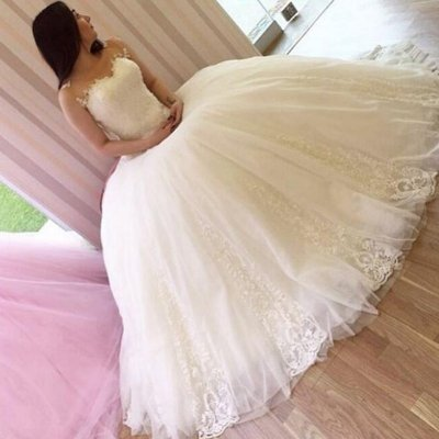 Chic Ball Gown Wedding Dress - Sweetheart Sleeveless Appliques Floor-Length