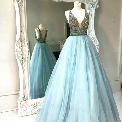 Modern A Line Prom Dress - V Neck Sleeveless Floor Length Backless with Beading
