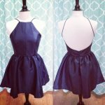 A-Line Square Backless Short Navy Blue Satin Homecoming Dress