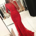 Mermaid Bateau Half Sleeves Backless Red Prom Dress with Beading Appliques