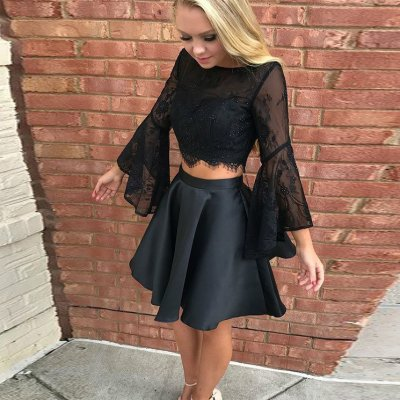 Two Piece Bateau Backless Short Black Homecoming Dress with Lace Sleeves
