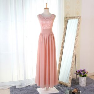 A-Line Round Neck Floor-Length Pink Chiffon Bridesmaid Dress with Lace