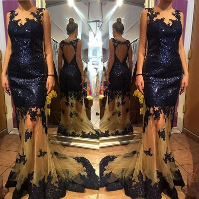 Elegant Prom Dress-Dark Navy V-Neck Backless with Sequins
