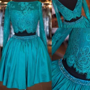 Elegant Two Piece Bateau Long Sleeves Turquoise Homecoming Dresses with Beaded Lace
