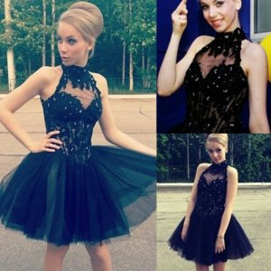 Awesome High Neck Sleeveless Short Black Homecoming Dress with Appliques Beading