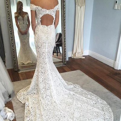 Mermaid Off-the-Shoulder Short Sleeves Court Train Lace Wedding Dress with Open Back