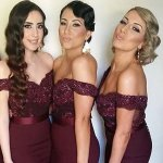 Perfect Burgundy Bridesmaid Dress - Mermaid Off Shoulder Sweep Train with Beading Lace