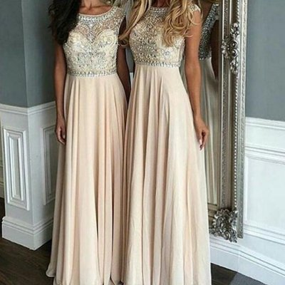 Luxurious A-Line Scoop Sleeveless Long Prom Dress with Beading