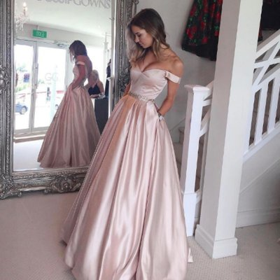 Pearl Pink Pockets Prom Dress - Off Shoulder Floor Length with Beading