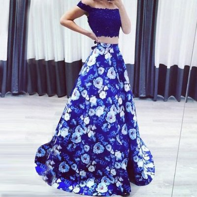Two Piece Floral Prom Dress - Long Off-the-Shoulder with Lace Beading