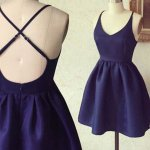A-Line Spaghetti Straps Dark Blue Criss-Cross Straps Satin Homecoming Dress