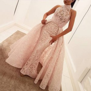 Mermaid High Neck Sweep Train Pearl Pink Lace Prom Dress with Overskirt
