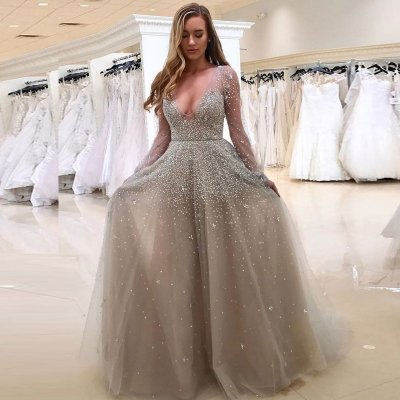 A-Line Scoop Long Sleeves Gray Tulle Prom Dress with Beading