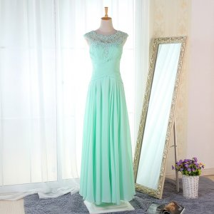 A-Line Round Neck Floor-Length Mint Chiffon Bridesmaid Dress with Appliques Beading